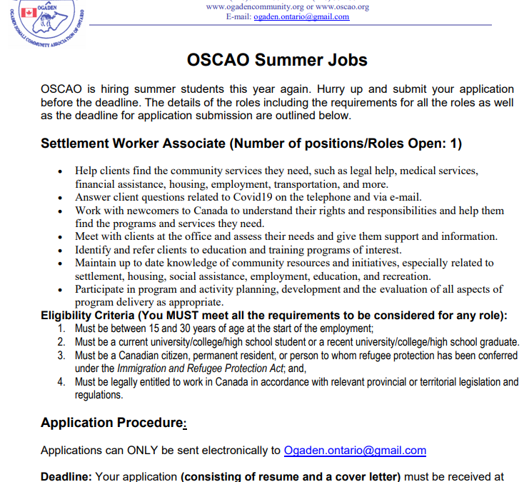 OSCAO Summer Jobs